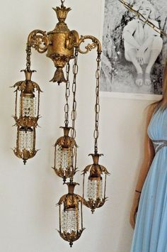 d632c5ec1e76 Vintage swag Hollywood Regency mid century hanging chandelier Ceiling lamp