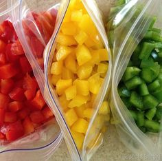 Dice and freeze bell peppers, onions, celery, to make your produce last longer! {Sawdust and Embryos}