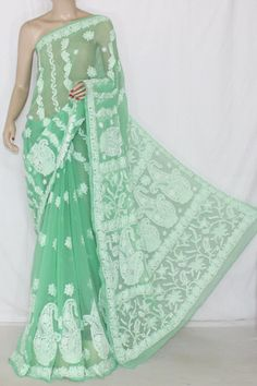 Pista Green Hand Embroidered Lucknowi Chikankari Saree (With Blouse - Georgette) 12716