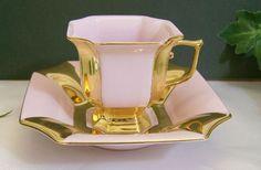 H Chodov, Czech Republic Pink Rose w Gold Porcelain Demitasse Tea Cup & Saucer