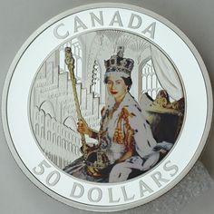 Canada 2013 $50 Queen Elizabeth II Coronation 5 oz Pure Silver Color Proof Coin