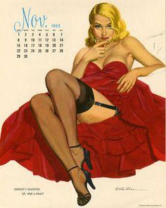 Esquire calendar, November 1953   Al Moore pinup #pinupartsource #pinup