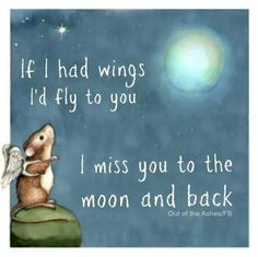 If I had wings, if fly to you. I miss you to the moon and back.
