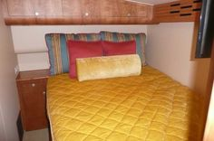 Stateroom from the Dun-Rite, custom made bedding made with Kravet and Duralee fabrics, Crystal Coast Interiors