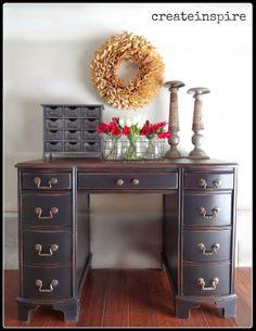 refinished antique desk, painted furniture, Voila A keeper for sure Refurbished Furniture, Paint Furniture, Repurposed Furniture, Furniture Projects, Home Furniture, Furniture Refinishing, Furniture Online, Bedroom Furniture, Modern Furniture