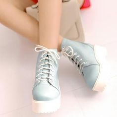Lace-Up Platform Short Boots from #YesStyle <3 Pangmama YesStyle.com Asian Shoes, Pointed Heels, Short Boots, Neymar, Asian Fashion, Cute Shoes, High Top Sneakers, Addiction, Shoes Heels