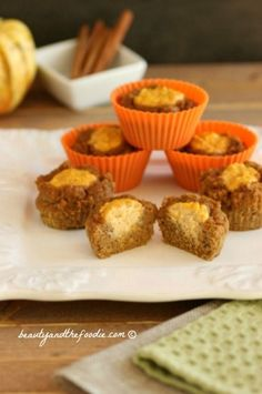 Sour Cream Pumpkin Butter Muffins Grain free, gluten free and low carb, pumpkin muffins with a delicious sour cream pumpkin butter center.
