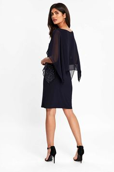 23b91c998eec Petite Navy Embellished Overlay Shift Dress - Dresses