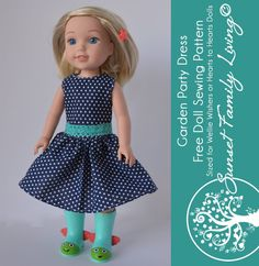Garden Party Dress   Free Sewing Pattern   Free American Girl Pattern   Free Sewing Pattern for WellieWishers   Wellie…