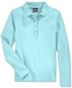 Nautica School Uniform Ruffled Long-Sleeve Polo Shirt, Big Girls Plus (8-20) - Blue XXL