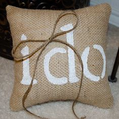 I DO wedding burlap ring bearer pillow  We Do by sherisewsweet, $20.00