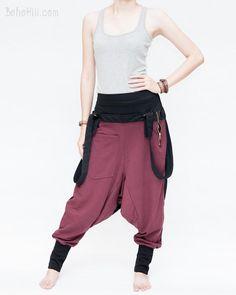 Suspenders Harem Pants Heavy Jersey Cotton Blend Two-Tone (Burgundy)