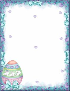 Easter border Disney Frames, Stationary Printable, Christmas Stationery, Birthday Frames, Borders For Paper, Coloring Easter Eggs, Easter Printables, Easter Activities, Paper Frames