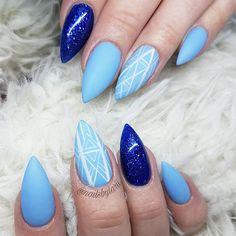 "23 Likes, 3 Comments - Larissa - Shangri La Nails (@nailsbylarii) on Instagram: ""#linework #blues #bluenails #sparkles @bioseaweedgel No. 76 ""Cyclone"" @uglyducklingnails No. 38 . .…"""