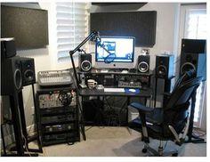 Image: Home studio photo: odd monitor placement. Home Studio Setup, Studio Gear, Home Studio Music, Dream Studio, Home Recording Studio Equipment, Music Recording Studio, Dream Music, Recorder Music, Music Music