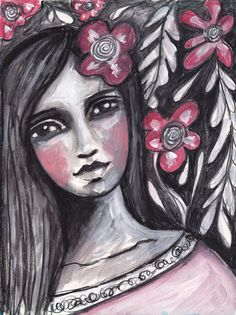 Black white face w/ a bit of pink using Caran D'Ache water soluble crayons by Tamara LaPorte of Willowing.a calm beauty. Mixed Media Faces, Mixed Media Art, Art Journal Pages, Art Pages, Black And White Face, Beauty Art, Doll Face, Medium Art, Face Art
