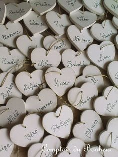 Wooden Heart Name Tags for a Wedding