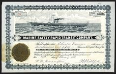 Marine safety Rapid Transit Co., 1886 Stock Certificate.