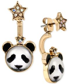 Betsey Johnson Gold-Tone Panda and Star Mismatch Front and Back Earrings Panda's Dream, Betsey Johnson Earrings, Front Back Earrings, Star Jewelry, Review Fashion, Star Earrings, Jewelry Watches, Cufflinks, Fashion Jewelry