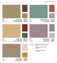Orion Victorian: Victorian Color Schemes ... Sherwin Williams Victorian  Pallette · Exterior House ...