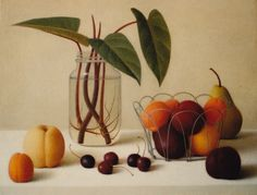 Still life painting with fruit and philodendron cuttings. Oil on linen.