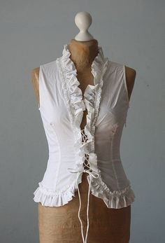 Vintage top corset white cotton boho gipsy victorian chic frilled  woman fashion