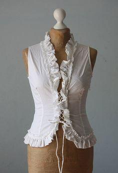 Vintage top corset white cotton boho gipsy victorian chic frilled  woman fashion