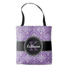 Monogrammed Personalized Damask Purple Bag - antique gifts stylish cool diy custom