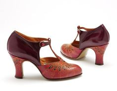 Vintage Shoes Maker unknown France (probably, made) ca. 1927 Calf leather, stamped design - Pair of ladies' leather shoes, probably French, ca. 1920s Shoes, Vintage Shoes, Vintage Outfits, Vintage Fashion, Vintage Purses, Calf Leather, Leather Shoes, Mega Fashion, Fashion Fashion