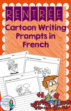 Rentrée Scolaire!  Perfect for my writing center.  These fun cartoon prompts are so engaging for students and I love that it is in French!