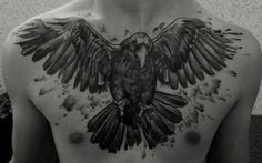 krähen tattoo | Tattoo-Foto: Krähe (Crow) Mehr