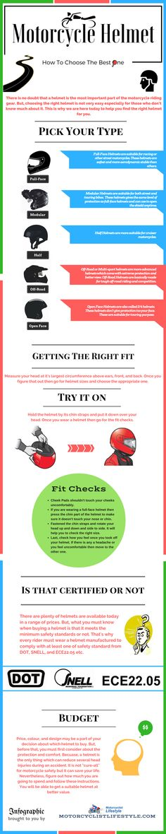 https://motorcyclistlifestyle.com/ There is no doubt that a helmet is most important part of motorcycle riding gear. the Choosing the right helmet is not easy for Beginners. that why we have created this infographic that will help you to choose the best motorcycle helmet for you.