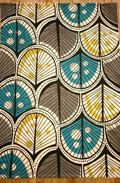 retro feathers or trees (?) in grey, gold and aqua.  Vintage Dots and line Beautiful design