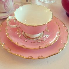 pretty pink, white and gold tea set