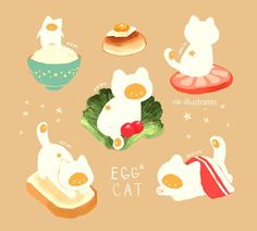 Doodle, Doodle, Doodle — Egg Cat and Tempurrra Cat. Chat Kawaii, Kawaii Cat, Cute Animal Drawings, Kawaii Drawings, Cute Doodles, Cat Drawing, Pretty Art, Leprechaun, Cute Illustration