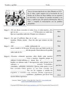 Las Madres de la Plaza de Mayo y La Guerra Sucia (SOMOS Spanish 1 Unit 15) Second Semester, Active Listening, Spanish 1, Lesson Plans, Classroom, Teaching, How To Plan, Students, Sweet