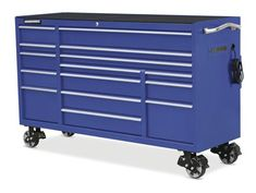 "Masterforce® 72"" x 24"" Blue 15-Drawer Mobile Tool Cabinet"