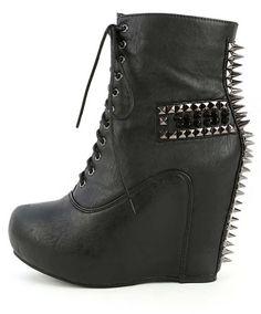 Spike Lace-up Lita Ankle Wedge Platform Boots Black Fourever Funky - http://shoes.goshopinterest.com/womens/boots/fashion/spike-lace-up-lita-ankle-wedge-platform-boots-black-fourever-funky/