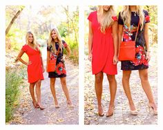 Bright dresses with nude heels