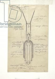 Jewelry sketch, 1920s (graphite on paper) by Norman Norell / Indianapolis Museum of Art, Gift of John Moore