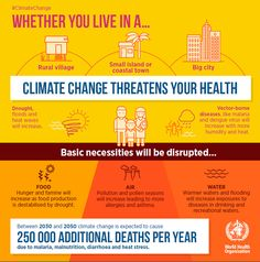 Infographic from the World Health Organization on how climate change impacts your health!