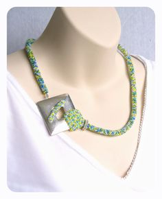 Seed Bead Crochet Rope Jewelry Silver Focal by BeadworkAndCoe