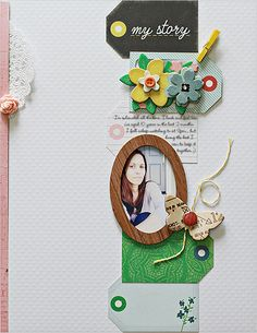 waleska neris - scrapbook layout. Wooden frame and alternating tags with embellishments.