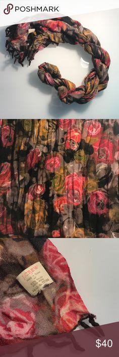 J. Crew floral scarf Good condition. 52% Nylon, 48% Wool. J. Crew Accessories Scarves & Wraps