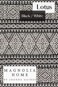 Magnolia Home by Joanna Gaines -- Lotus in Black and White! Available at nwrugs.com! #magnoliahome #farmhouse #joannagaines #rusticfarmhouse Magnolia Home Rugs, Magnolia Homes, Black Silver, Black And White, Fifth Business, Farmhouse Chic, Joanna Gaines, Rugs Online, Blue Cream