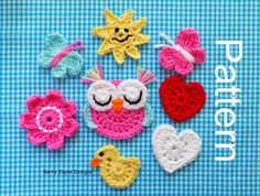 MIXED APPLIQUE CROCHET Pattern Crochet by KerryJayneDesigns