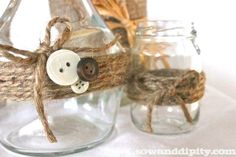 Do it yourself Up-cycle food jars with twine and buttons! Do it yourself Up-cycle food jars with twine and buttons! Mason Jar Projects, Mason Jar Crafts, Mason Jar Diy, Fun Crafts, Diy And Crafts, Crafts For Kids, Arts And Crafts, Jar Packaging, General Crafts