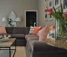 grey velvet sectional sofa - Google Search