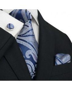 TheDapperTie - New Men's Blue & White Paisley Silk Tie Set 77M
