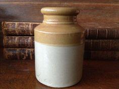 Antique England 1800s Oyster Jar Stoneware Jar by JansVintageStuff